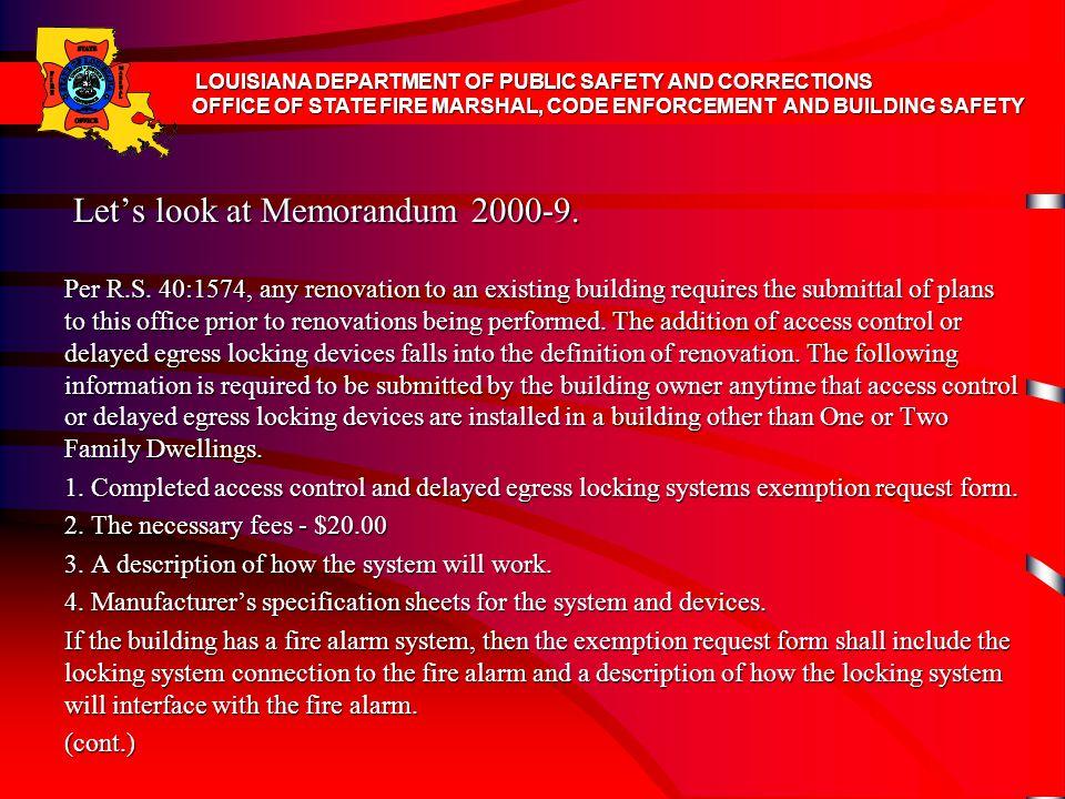 Let's look at Memorandum 2000-9.