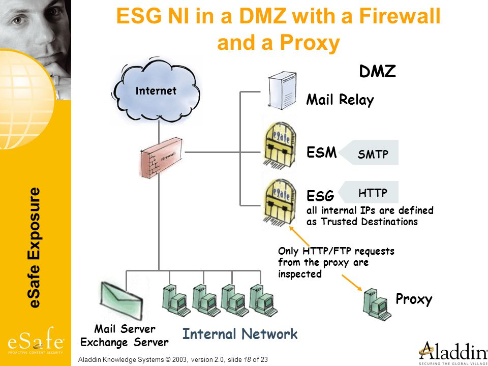 ESG NI in a DMZ with a Firewall and a Proxy