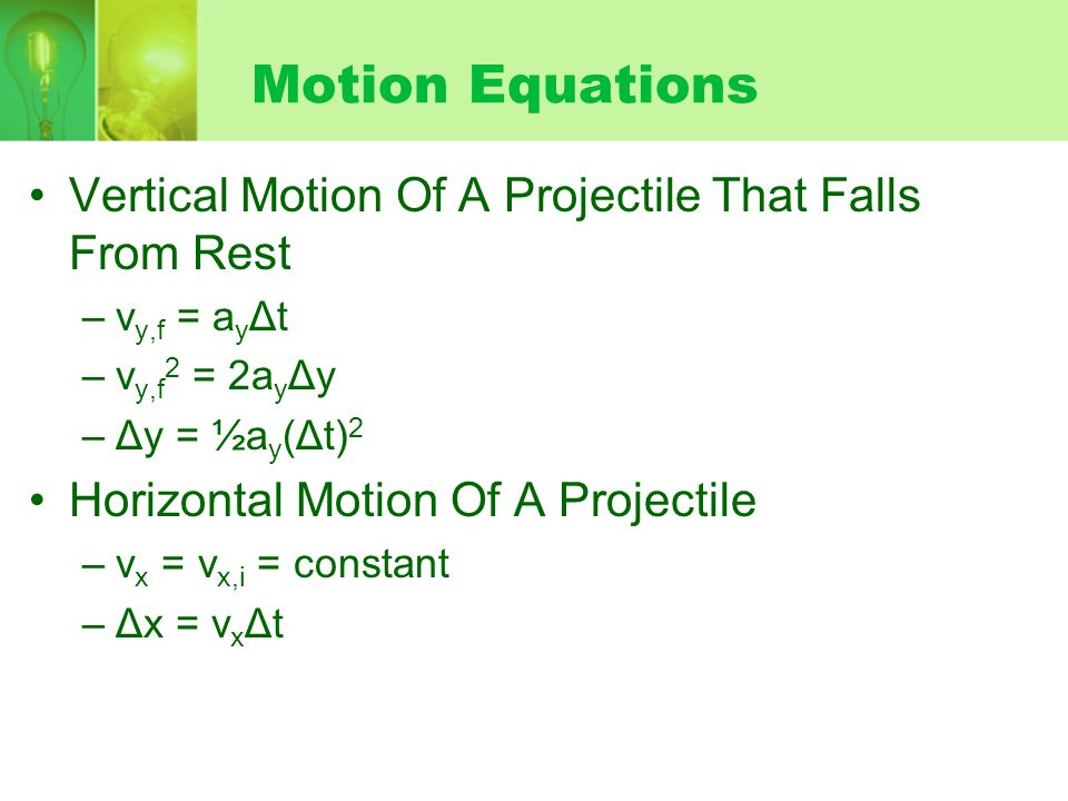 Motion Equations Vertical Motion Of A Projectile That Falls From Rest