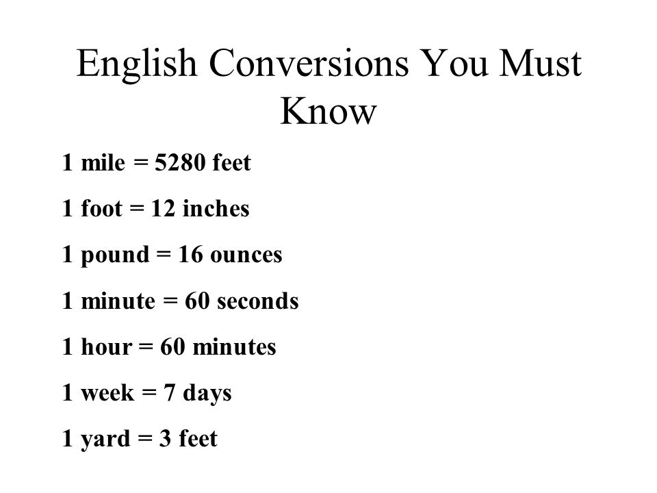 English Conversions You Must Know