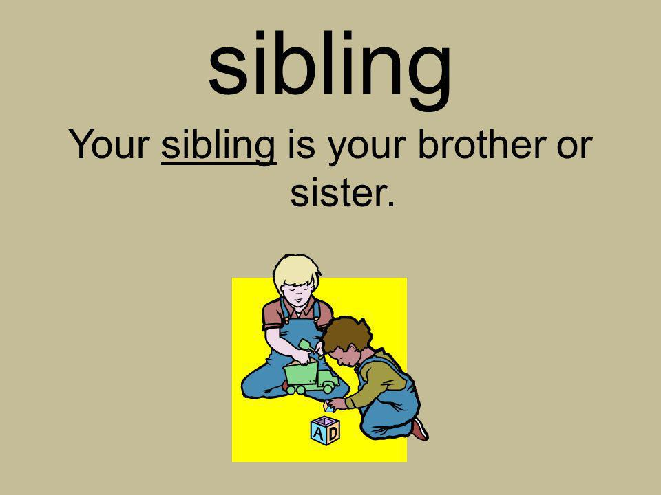 Your sibling is your brother or sister.