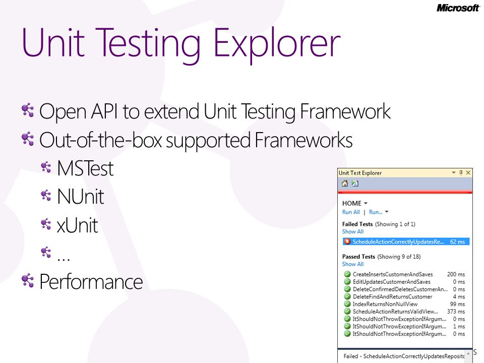 Unit Testing Explorer Open API to extend Unit Testing Framework