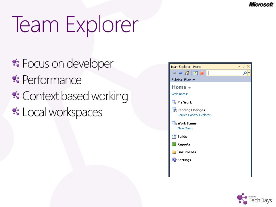 Team Explorer Focus on developer Performance Context based working