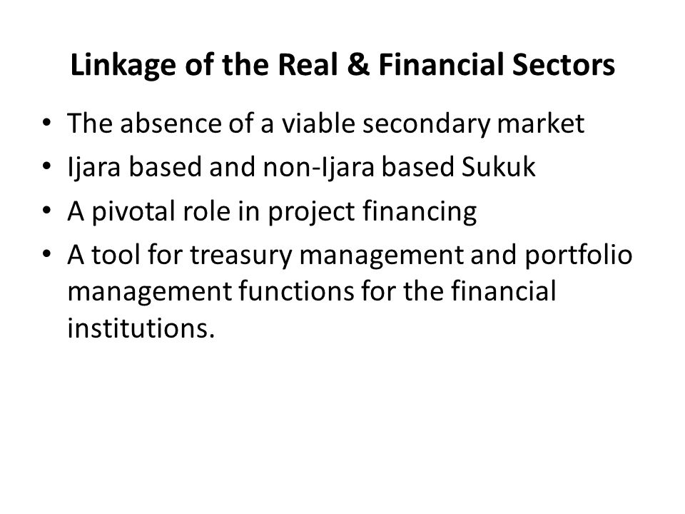 Linkage of the Real & Financial Sectors