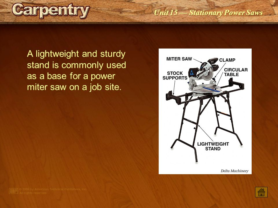 A lightweight and sturdy stand is commonly used as a base for a power miter saw on a job site.