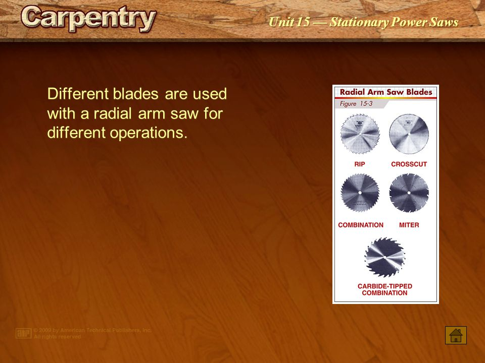 Different blades are used with a radial arm saw for different operations.