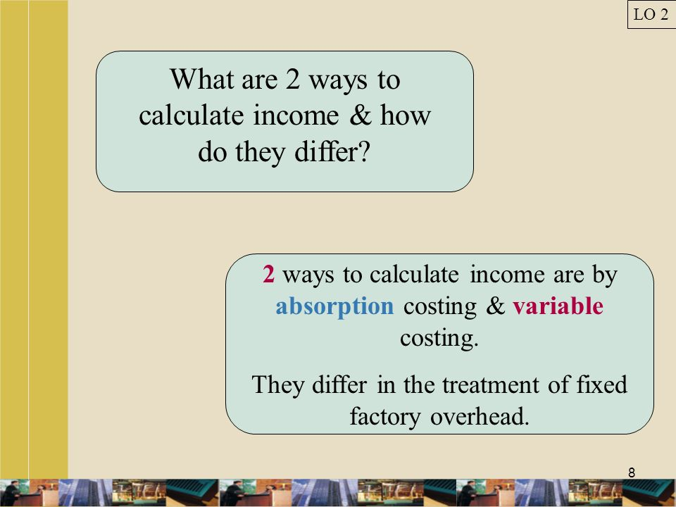 What are 2 ways to calculate income & how do they differ