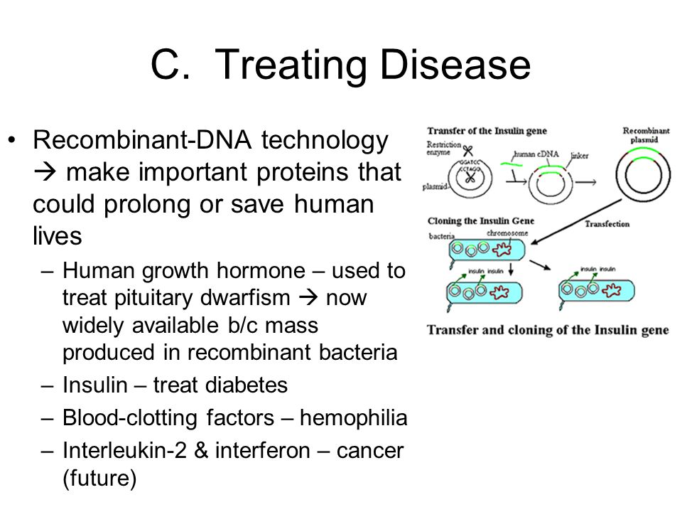 C. Treating Disease Recombinant-DNA technology  make important proteins that could prolong or save human lives.