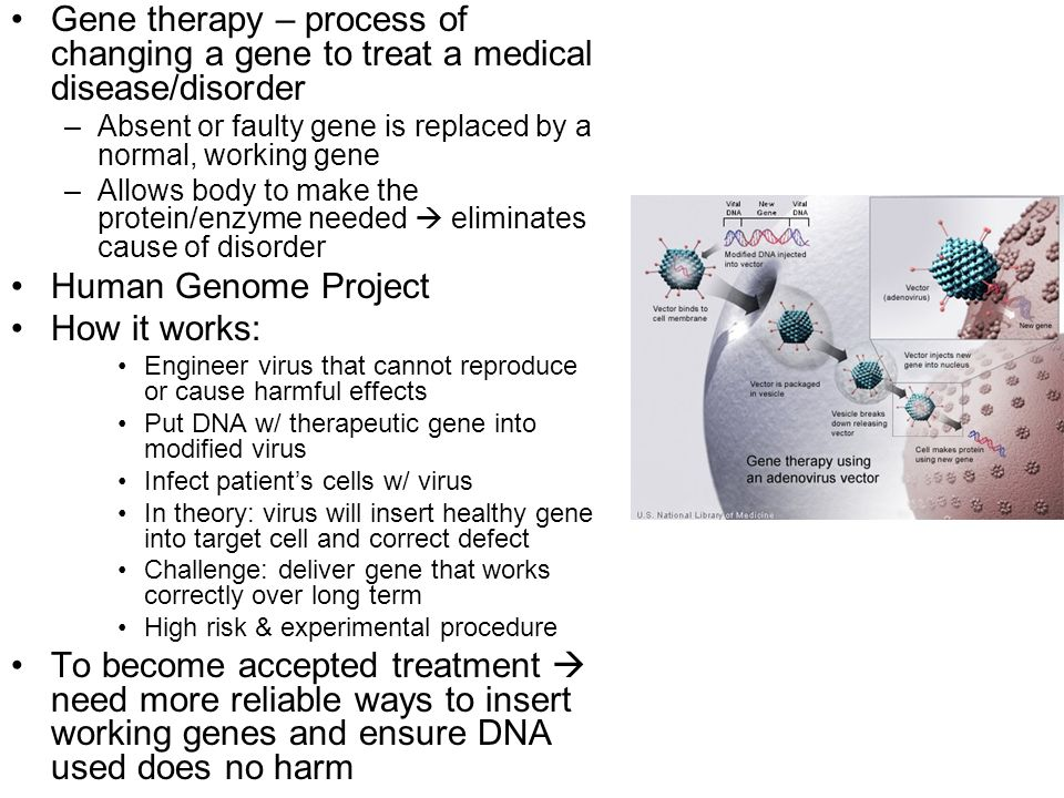 Gene therapy – process of changing a gene to treat a medical disease/disorder
