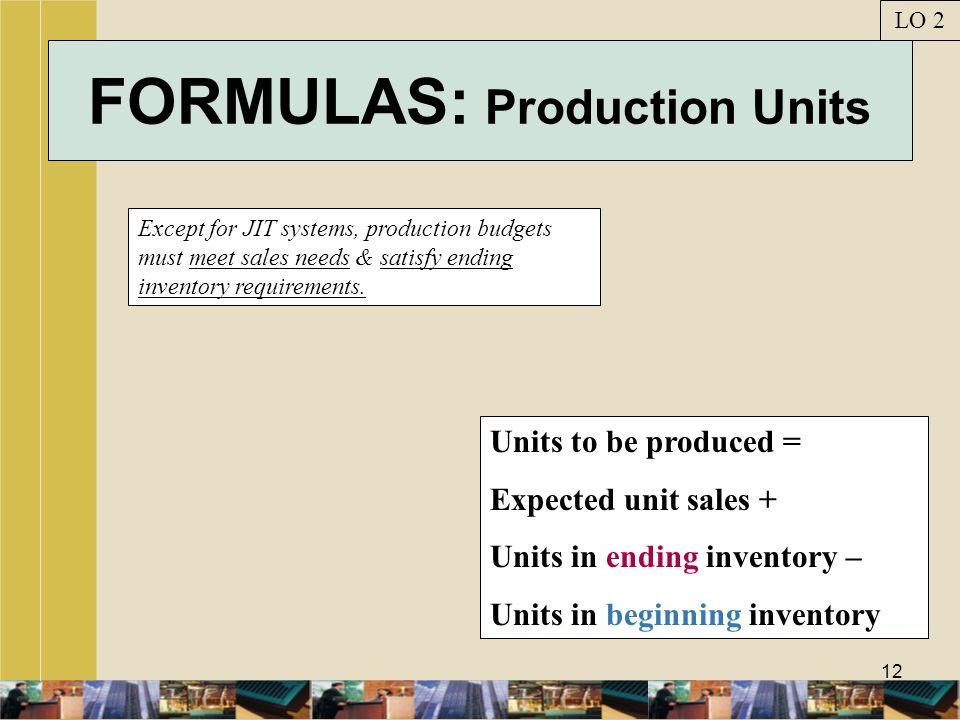 FORMULAS: Production Units