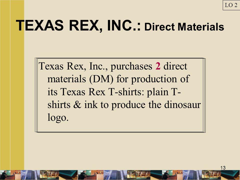 TEXAS REX, INC.: Direct Materials