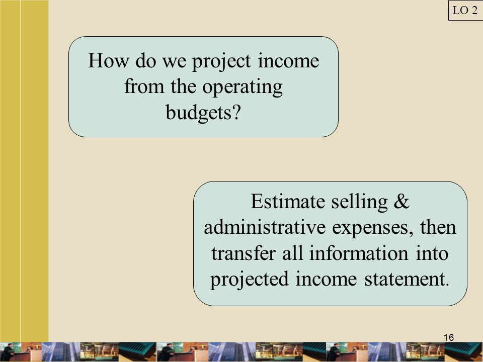 How do we project income from the operating budgets