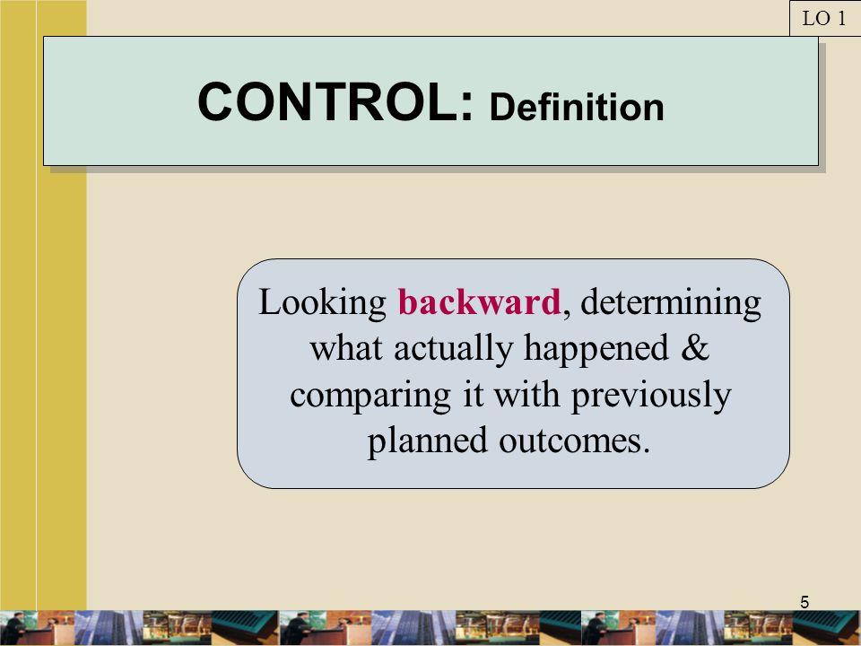 LO 1 CONTROL: Definition.