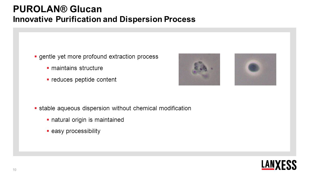PUROLAN® Glucan Innovative Purification and Dispersion Process