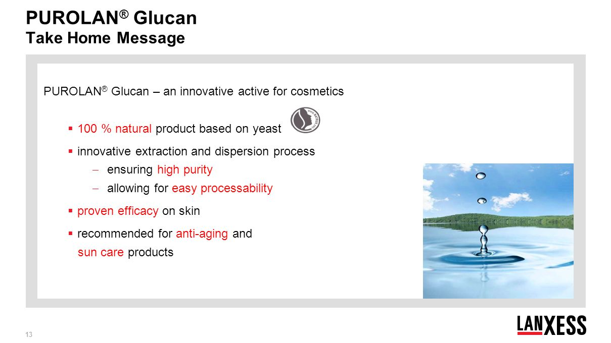 PUROLAN® Glucan Take Home Message