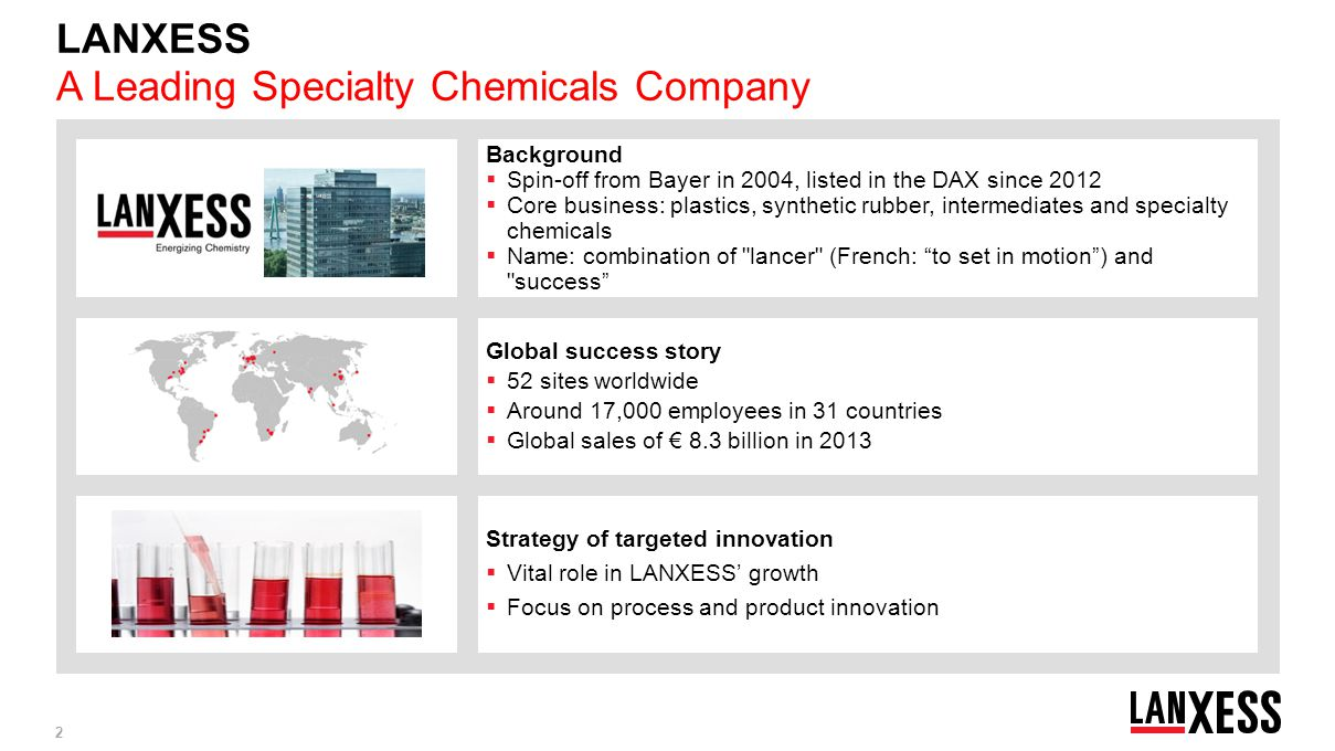 LANXESS A Leading Specialty Chemicals Company