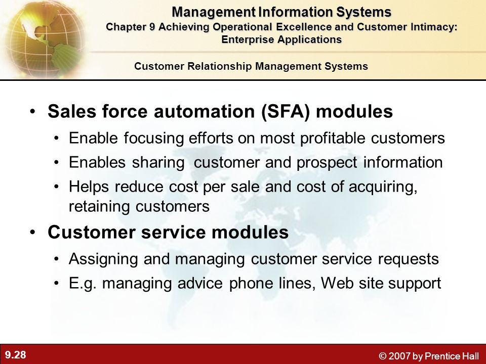 Sales force automation (SFA) modules