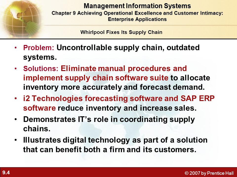 Management Information Systems Whirlpool Fixes Its Supply Chain