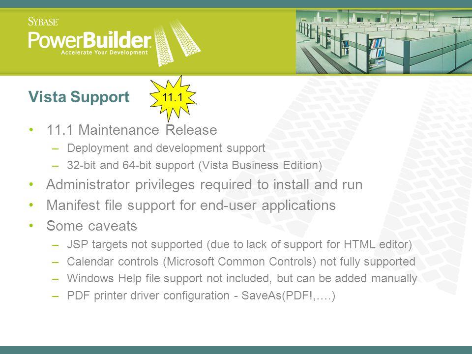Vista Support 11.1 Maintenance Release