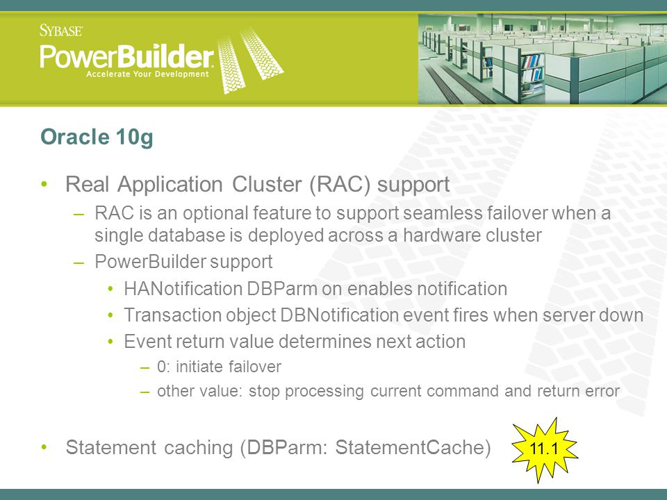 Real Application Cluster (RAC) support