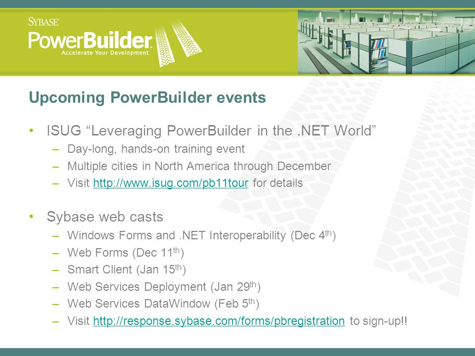 Upcoming PowerBuilder events