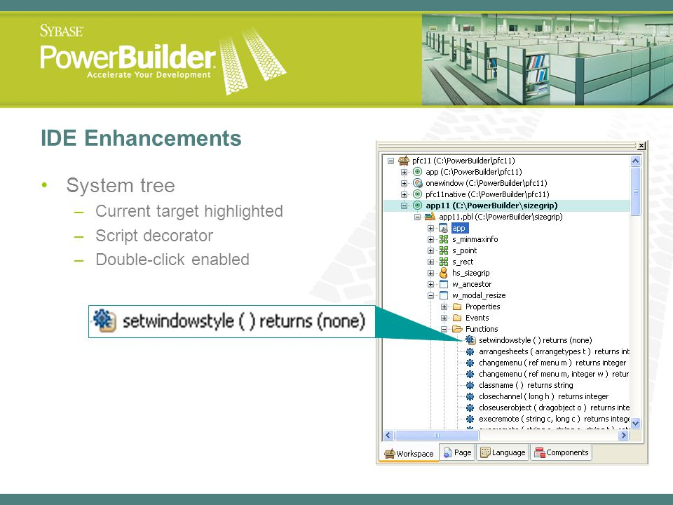 IDE Enhancements System tree Current target highlighted