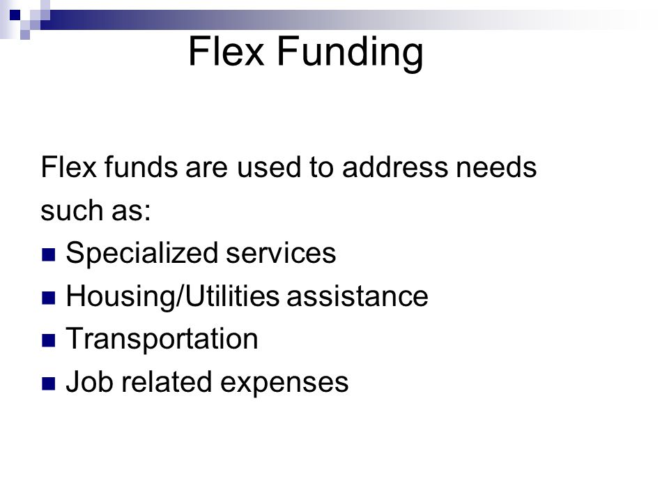 Flex Funding Flex funds are used to address needs such as: