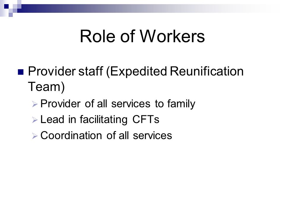 Role of Workers Provider staff (Expedited Reunification Team)