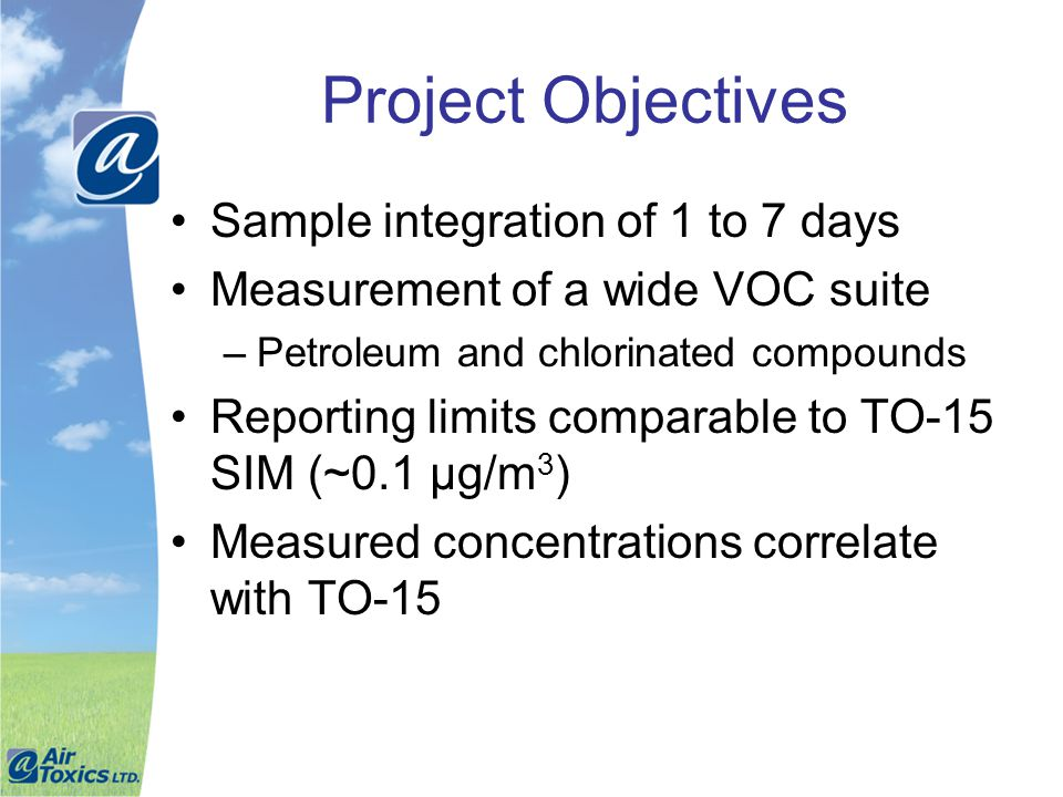 Project Objectives Sample integration of 1 to 7 days
