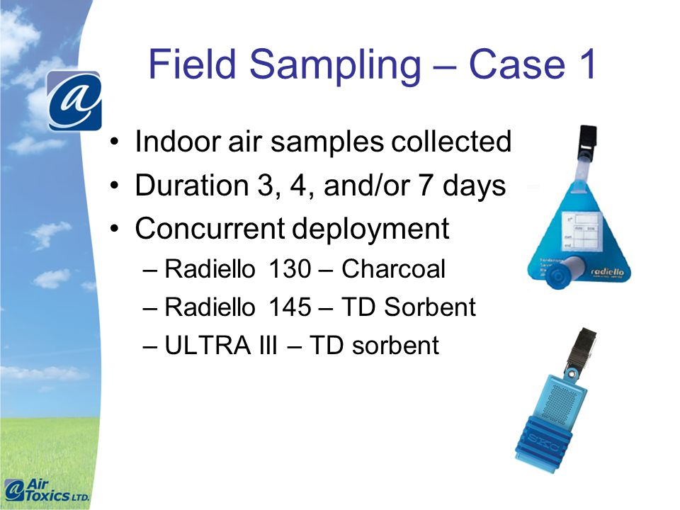 Field Sampling – Case 1 Indoor air samples collected