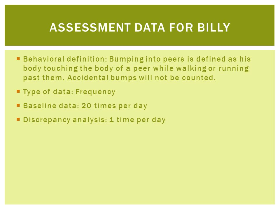 Assessment Data for Billy