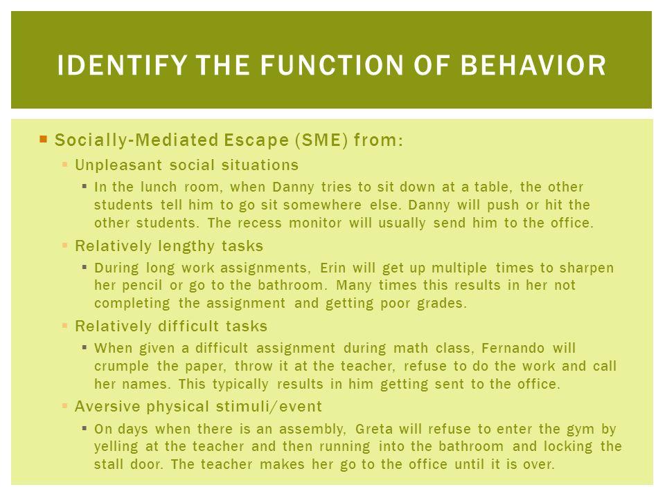 Identify the function of behavior