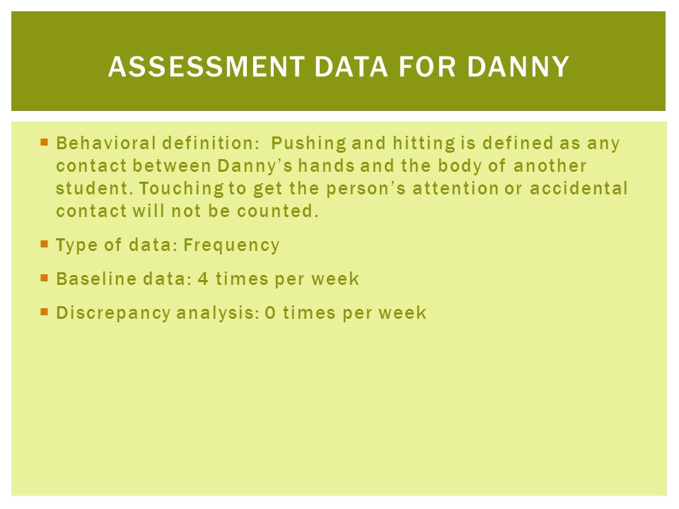 Assessment Data for danny