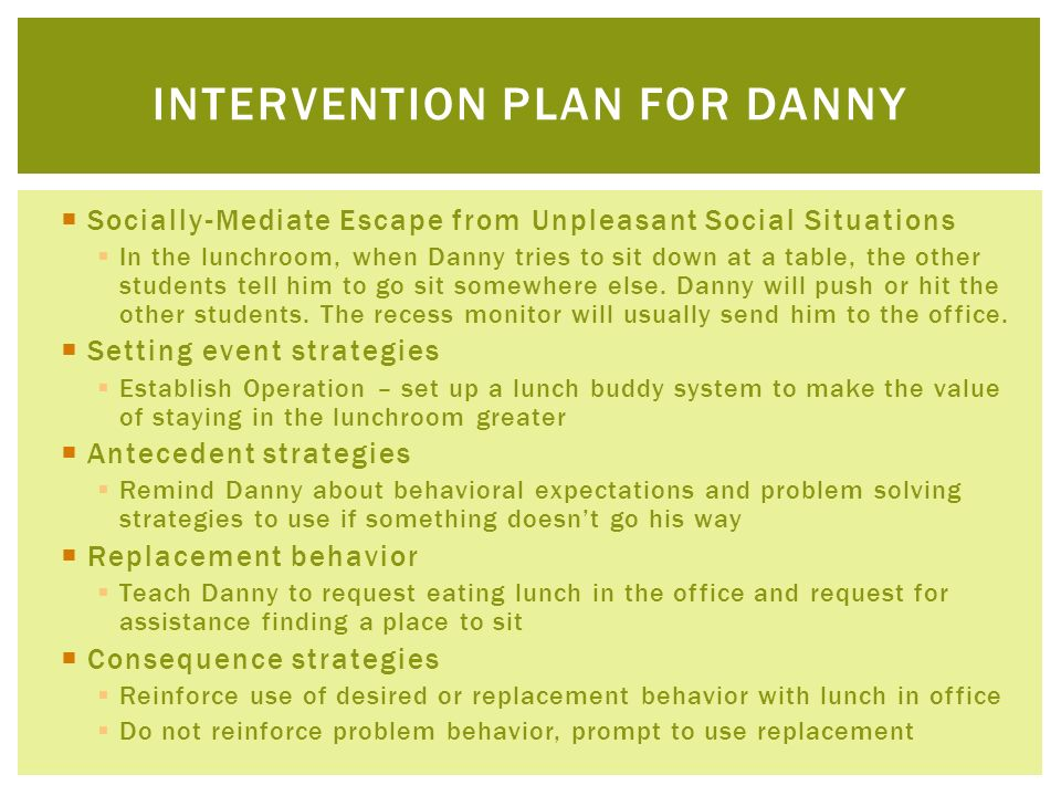 Intervention plan for danny