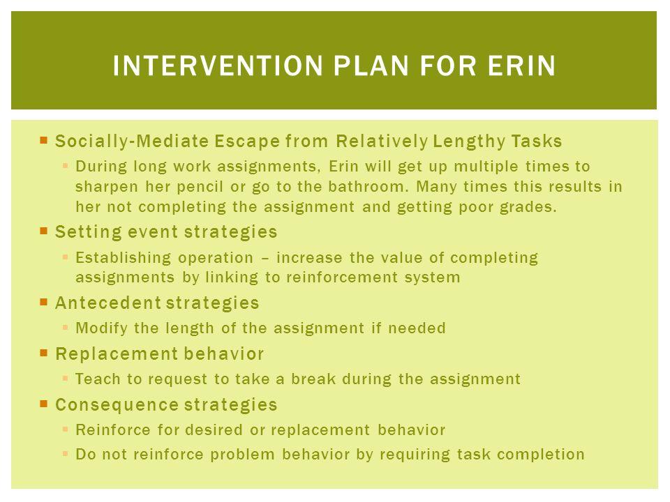 Intervention plan for erin