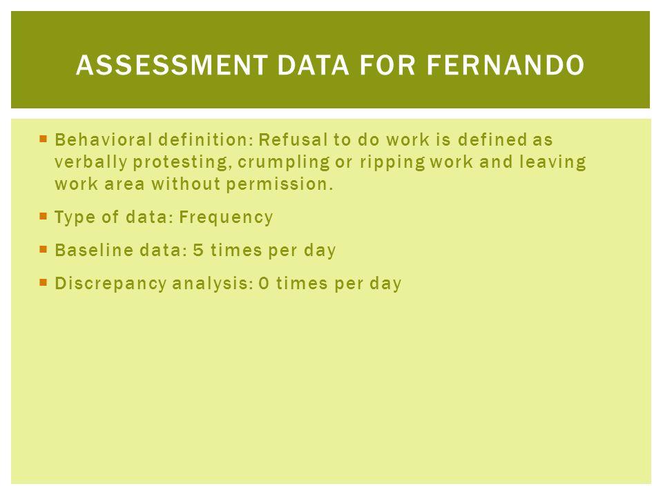 Assessment Data for fernando