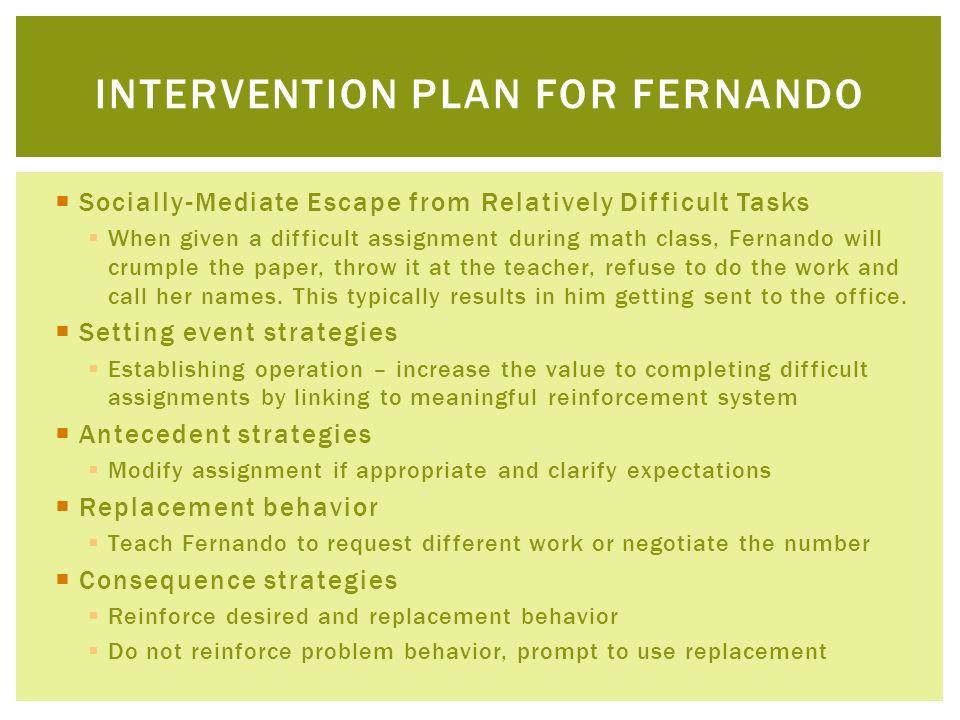 Intervention plan for fernando