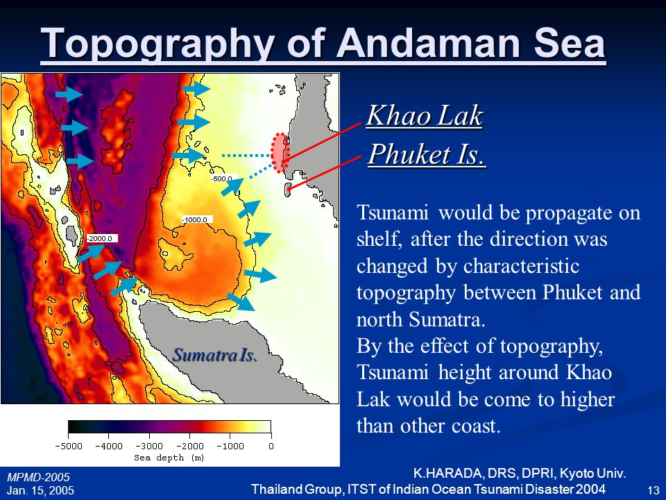 Topography of Andaman Sea