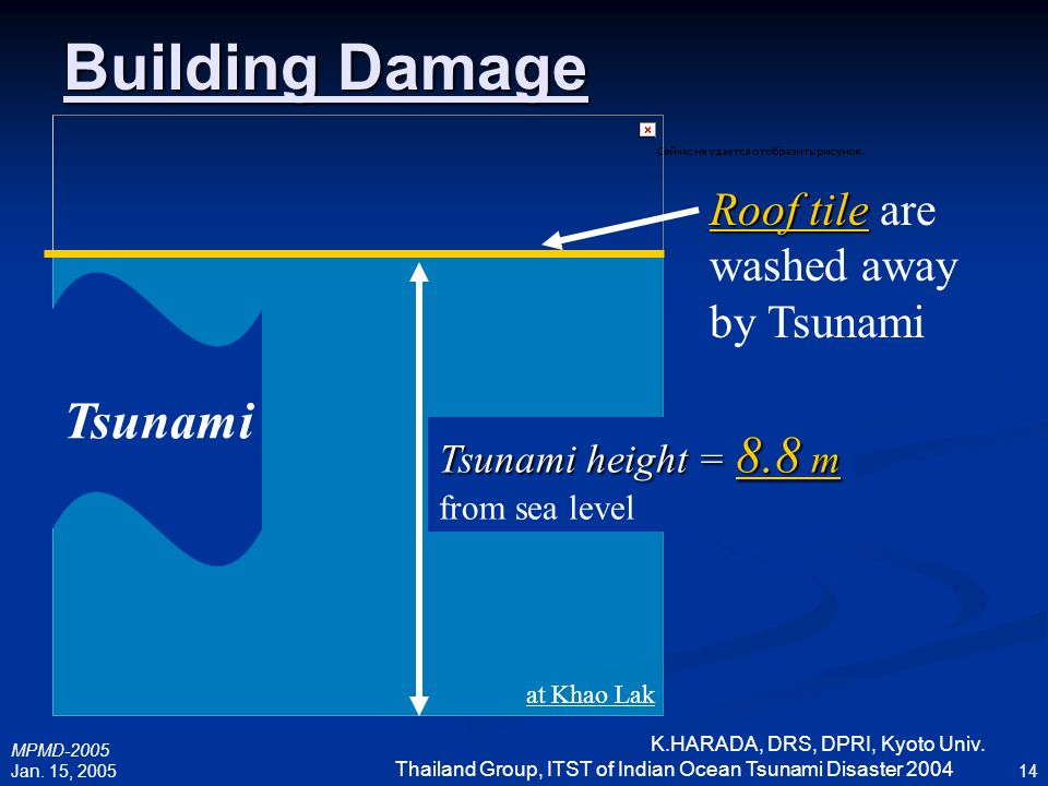 Building Damage Tsunami Roof tile are washed away by Tsunami