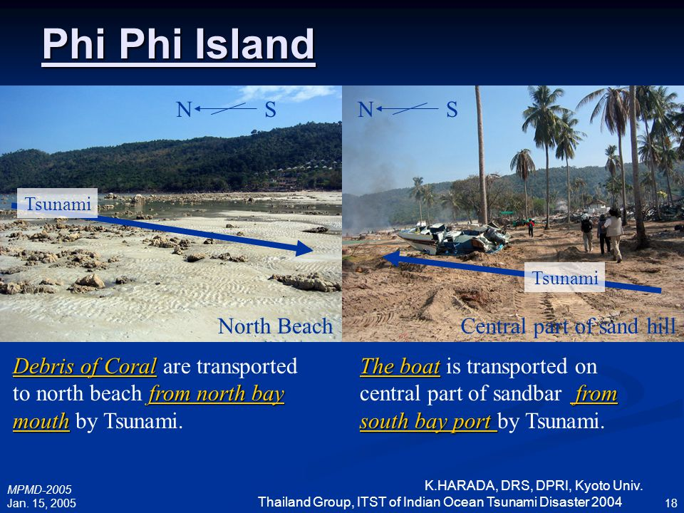 Phi Phi Island N S N S North Beach Central part of sand hill