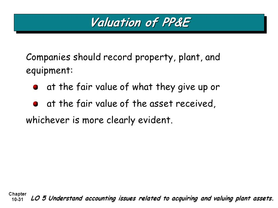 Valuation of PP&E Companies should record property, plant, and equipment: at the fair value of what they give up or.