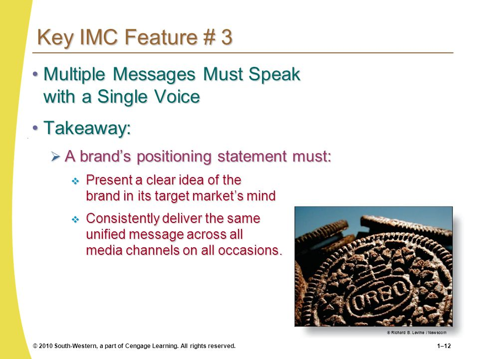 Key IMC Feature # 3 Multiple Messages Must Speak with a Single Voice