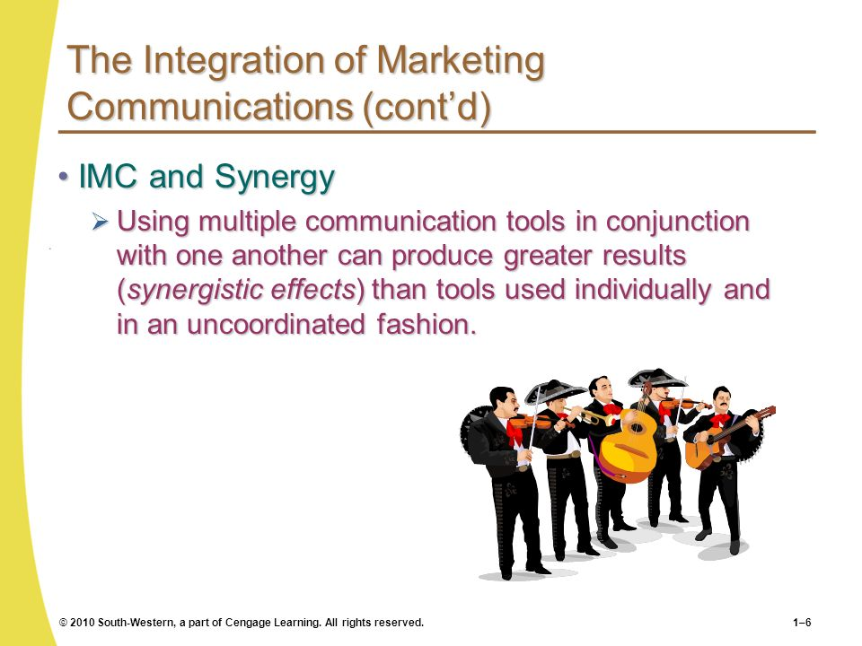 The Integration of Marketing Communications (cont'd)