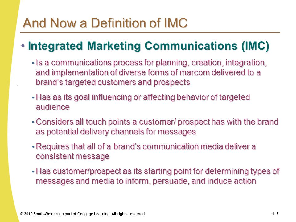 And Now a Definition of IMC