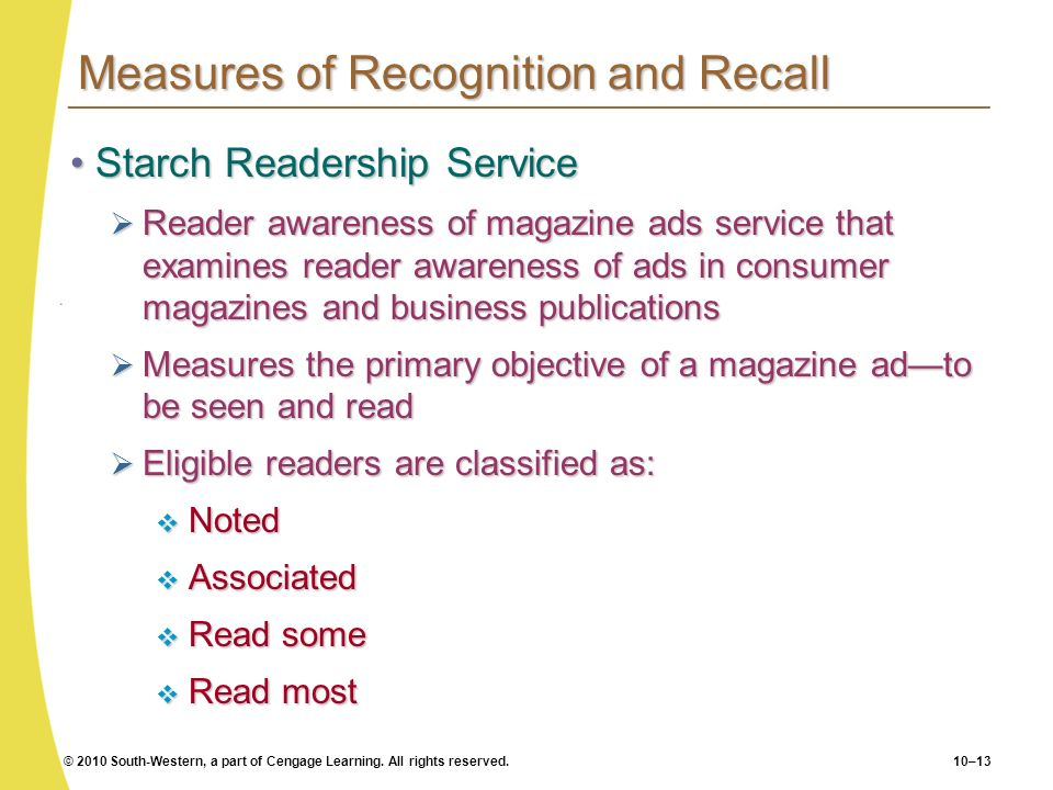 Measures of Recognition and Recall
