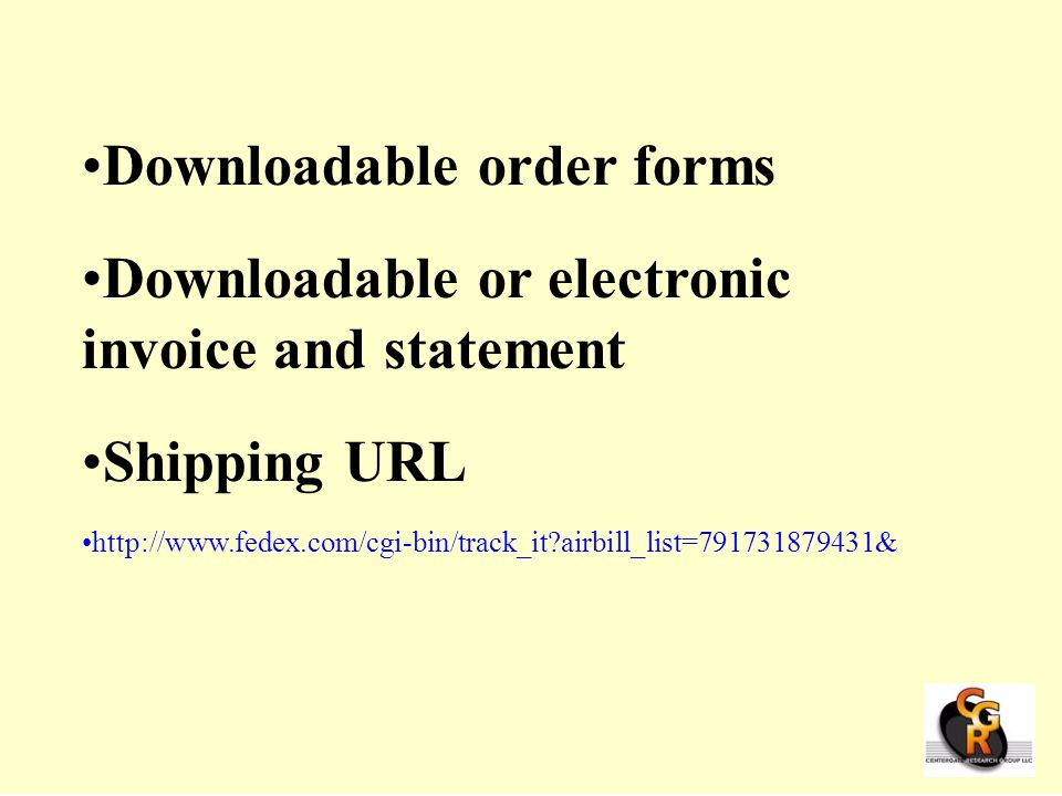 Downloadable order forms