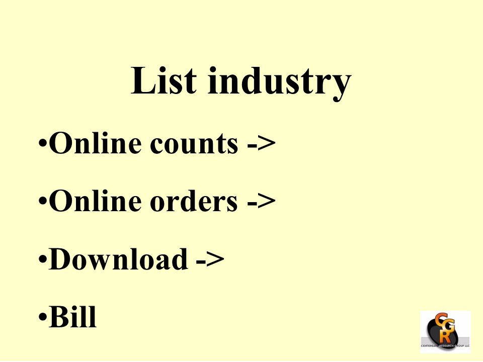 List industry Online counts -> Online orders -> Download ->