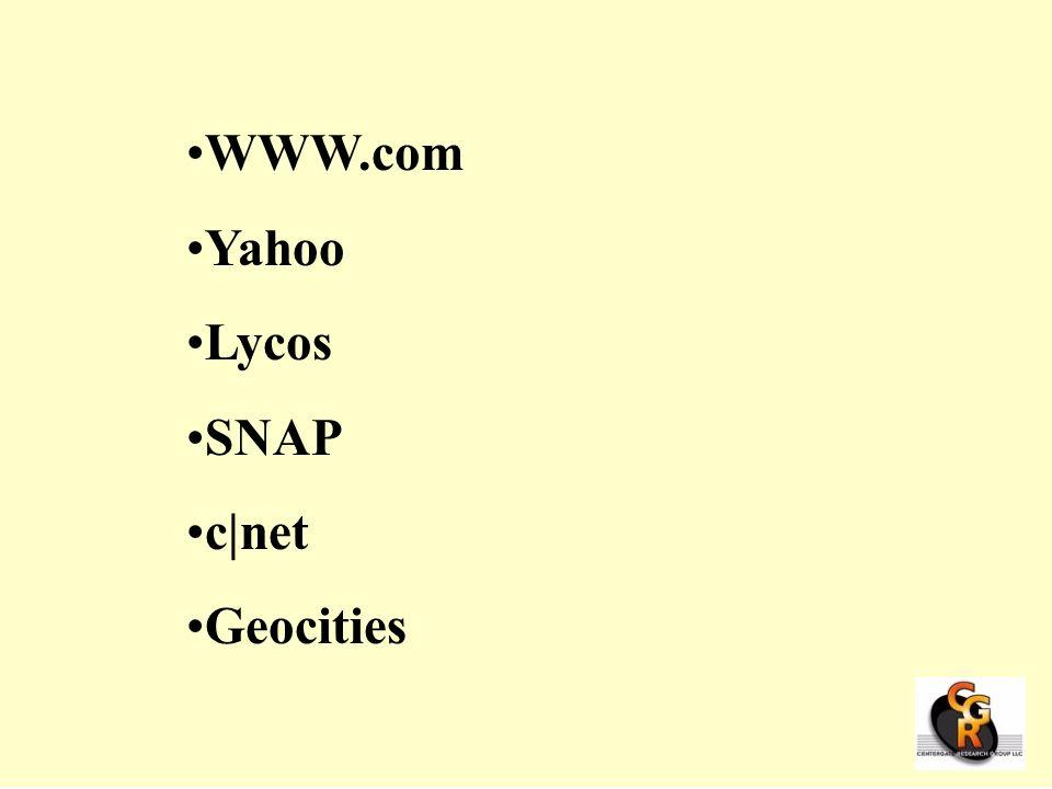 WWW.com Yahoo Lycos SNAP c|net Geocities