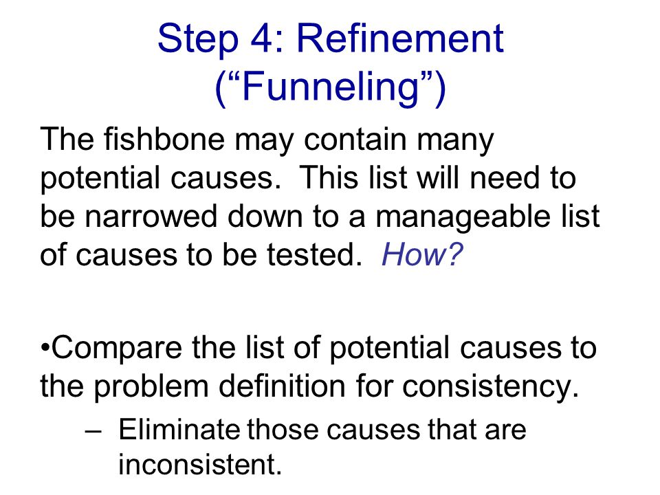 Step 4: Refinement ( Funneling )