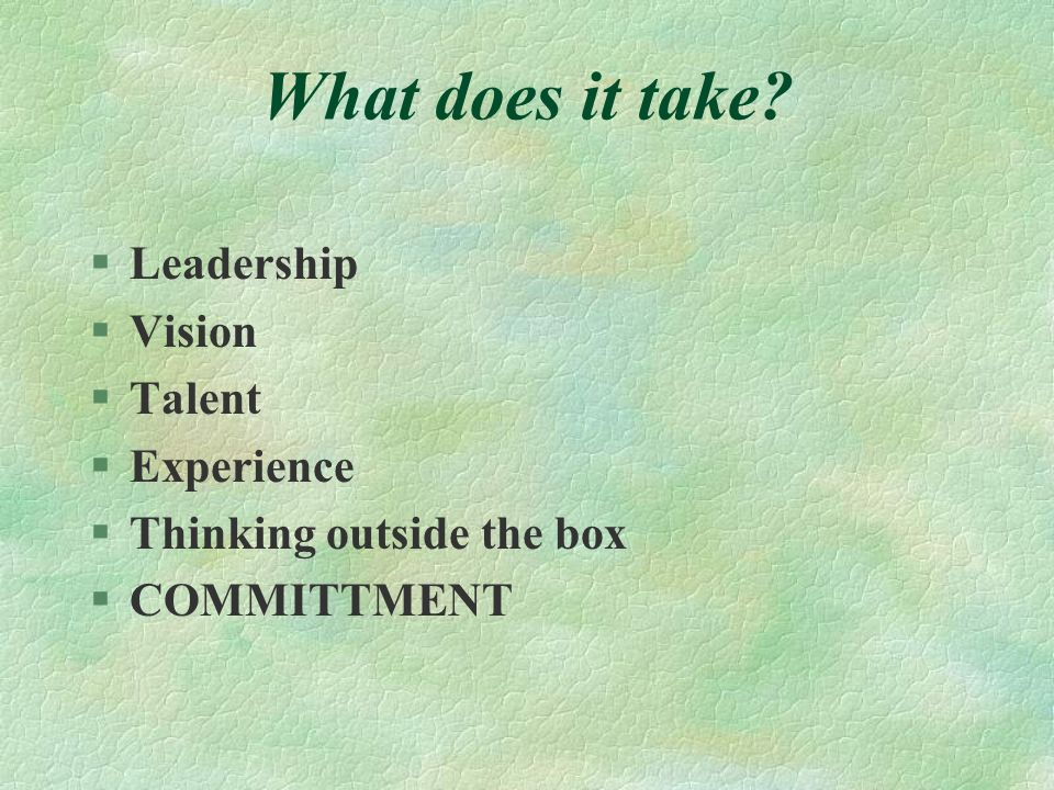 What does it take Leadership Vision Talent Experience